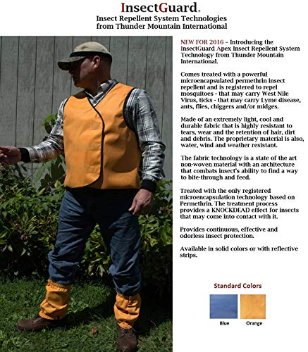 ec24f908bc411 Amazon.com : InsectGuard - Permethrin Treated Insect Repellent Vest  Effective Against Tick, Mosquitoes, Flies and More with Reflective Strips  (Blaze Orange) ...