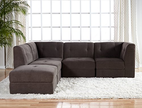 Stitch Time, 5pc Bradford Fabric Sectional, Granite