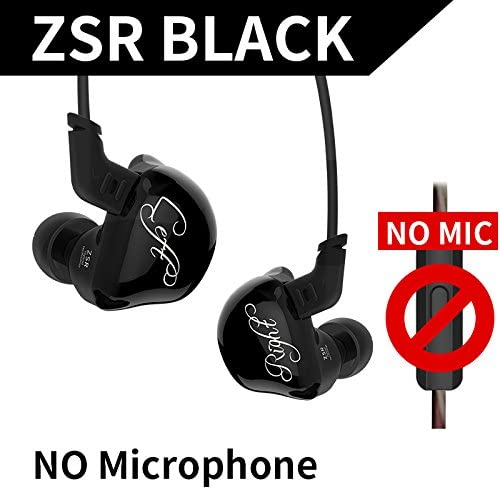 KZ ZSR Six Drivers in Ear Earphone Armature and Dynamic Hybrid Headset HiFi Bass with Replaced Cable Noise Cancelling Earbuds Without Mic, Black
