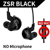 KZ ZSR Six Drivers In Ear Earphone Armature And Dynamic Hybrid Headset HIFI Bass With Replaced Cable Noise Cancelling Earbuds (Without Mic, Black)