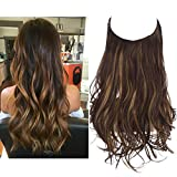 Short Halo Hair Extensions 12 Inch 3.5 Oz Wavy Curly Synthetic Hairpiece Dark Brown With Golden Highlight Adjustable Hidden Wire Headband for Women Heat Resistant Fiber No Clip SARLA (M05&4BH27)