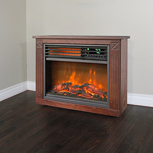 Lifesmart Large Room Infrared Quartz Fireplace In Burnished Oak Finish W Remote Space Heaters