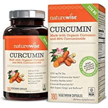 NatureWise Organic Curcumin Turmeric with 95% Curcuminoids, 2250mg Max Serving Per Day From Three 750mg Capsules, High Absorption BioPerine Black Pepper for Inflammation & Joint Support, 180 Caps