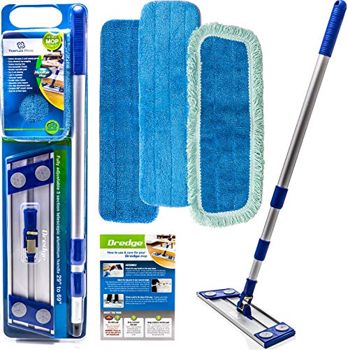Professional Microfiber mop for Hardwood Tile Laminate & Stone Floors Dredge Best All in 1 kit Dry & Wet Cleaning +3 Advanced Drag Resistant Pads|revolutionize Your Mopping Experience ()