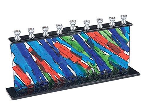 Quality Judaica Modern Fused Glass Menorah, Multi-Colored