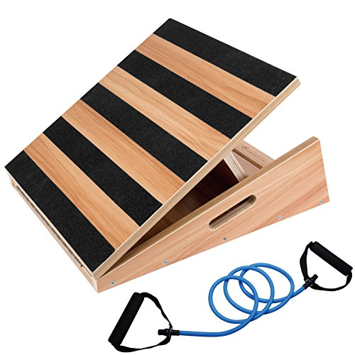 Professional Large Size Wooden Slant Board, Adjustable Incline Board and Calf Stretcher - Bonus Resistance Band - Extra Side-Handle Design for Portability - 16