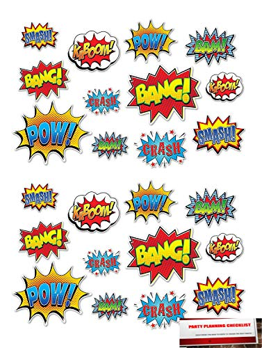 Deluxe 24 Piece Hero Action Sign Cutouts, 6