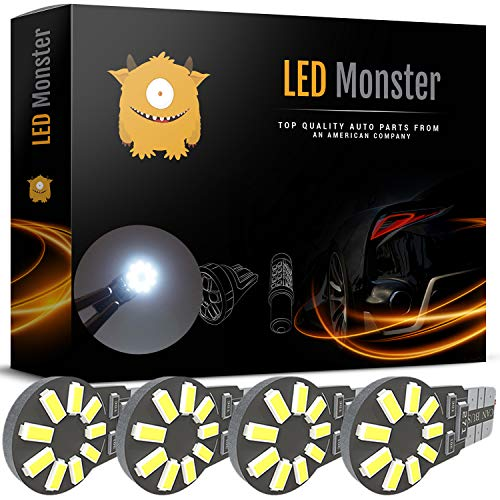 LED Monster 4pcs T10 Wedge Best Value Super Bright High Power 3014 18-SMD 194 168 2825 W5W White LED Bulb Lamp for Car Truck Interior Dome Map Door Courtesy License Plate Lights