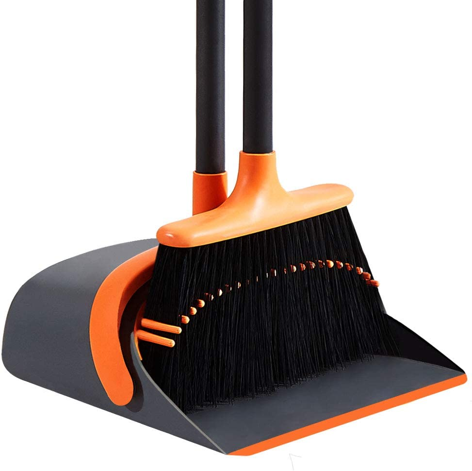SANGFOR Dustpan and Broom Set Broom and Dustpan Set Upright Stand Up Dustpan Broom Combo with Long Handle for Home Kitchen Room Office Lobby Floor Use (Orange)