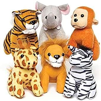 Baker Ross Peluches de Animales de la Selva (Paquete de 6) Regalos infantiles perfectos para bolsas de cotillón