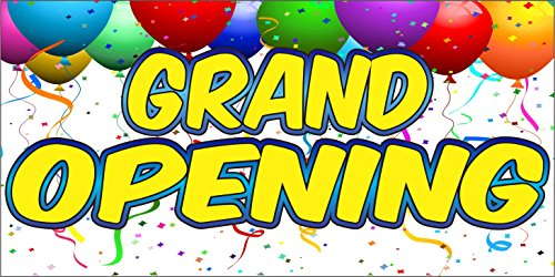 2' X 8' Grand Opening Sign 13oz Vinyl Full Color Banner Hemmed & Grommets Indoor / Outdoor (Opening Banner Outdoor)