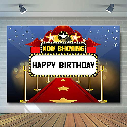COMOPHOTO Hollywood Backdrop Birthday Party Background Photography Movie Night Premiere Marquee Poster Star is Born Now Showing Sign Red Carpet Celebrity Banner