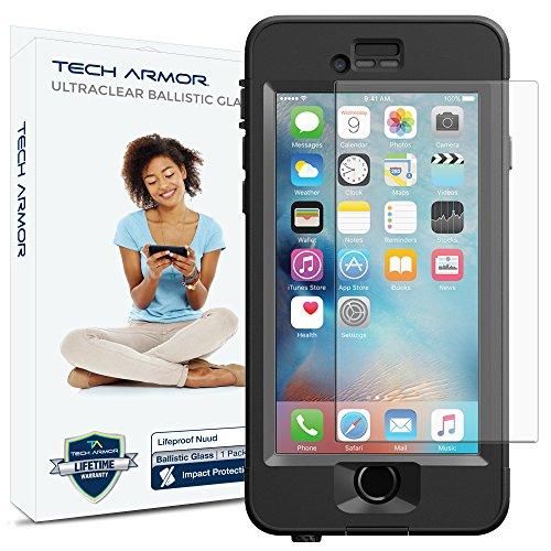 iPhone 6 Plus Glass Screen Protector, Tech Armor Lifeproof Nuud Ballistic Glass Apple iPhone 6S Plus/iPhone 6 Plus (5.5-inch) Screen Protector [1]
