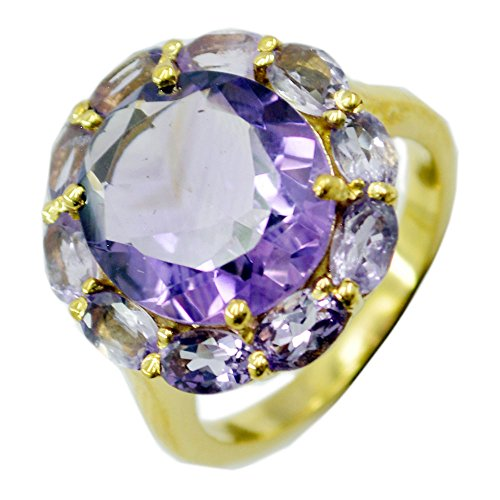 (Jewelryonclick Gold Plated Amethyst CZ Halo Engagement Ring Purple Stone Women Gift Size)
