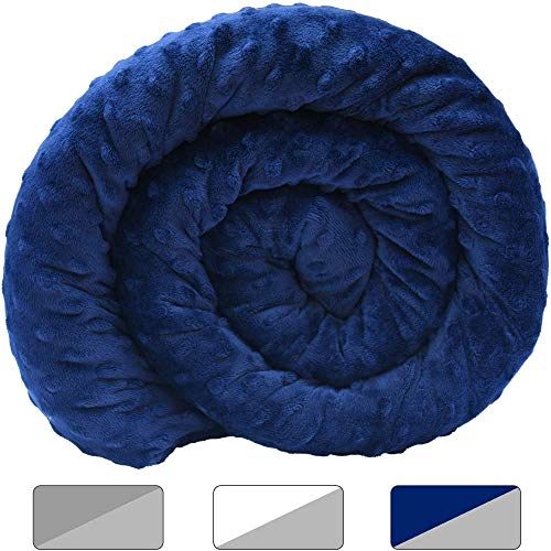 Cheap Rocklin Industry Chilla 15 lbs Weighted Blanket + Cooling Minky Cover | for 80-160lb Person | 60in x 80in | Double Sided Minky Duvet Cover Included | Navy Blue + Gray Black Friday & Cyber Monday 2019