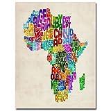 Trademark Fine Art Africa Text Map by Michael Tompsett, 18x24-Inch Canvas Wall Art