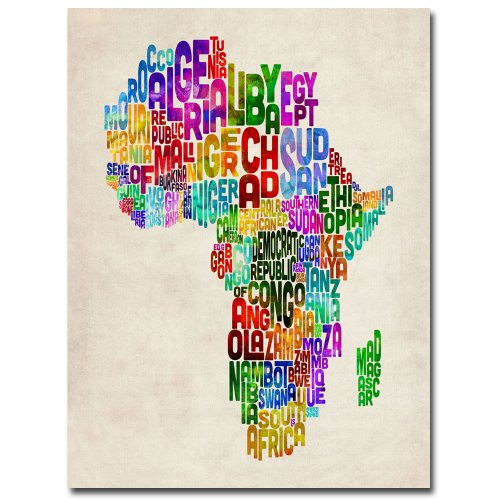 Africa Text Map by Michael Tompsett, 18x24-Inch Canvas Wall ()