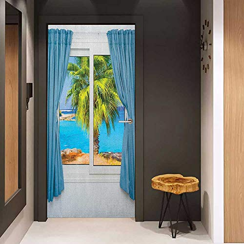 Onefzc Door Sticker Mural Beach View from Window with a Curtain Tropical Beach Sun Rays Horizon Palm Ocean Print WallStickers W31 x H79 Blue Green