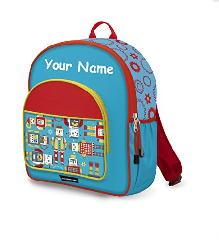Personalized Crocodile Creek Kids Robots School or Travel Backpack - 14 Inches -