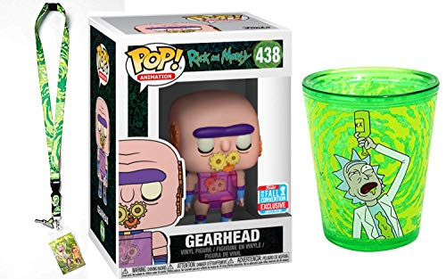 (Funko Riggety Wrecked! Rick & Morty Gearhead Exclusive Vinyl Figure Pack Bundled with Green Shot Glass Character + Portal Lanyard Bundle 3 Item Pack)