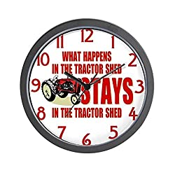 CafePress - What Happens In The Tractor Shed - Unique Decorative 10 Wall Clock