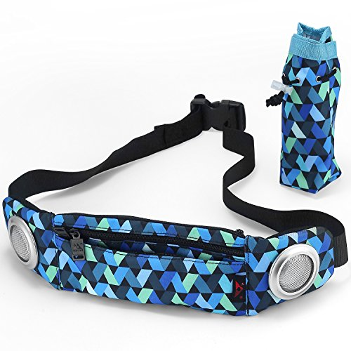 VONTER Music Fanny Pack Running Belt with Water Bottle Holder-Hip Pack with Speaker-Bum Bag Workout Belt Sport Waist Pack Belt Pouch for Men Women Fitness and for All Kinds of Phone (Night&Flower)