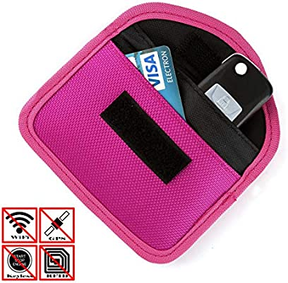 acbungji Faraday Bag – Blocker Keyless Go Llave de Coche Funda NFC Funda Tarjeta de crédito RFID Smartcard 8 * 12cm Oxford-Tuch Horizontal Rose Rot