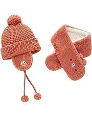 Baby Hat Scarf Set Winter Warm Knitted Pom Cap Scarves Toddler Boys Girls Soft Comfortable Knit Neck Warmer Orange
