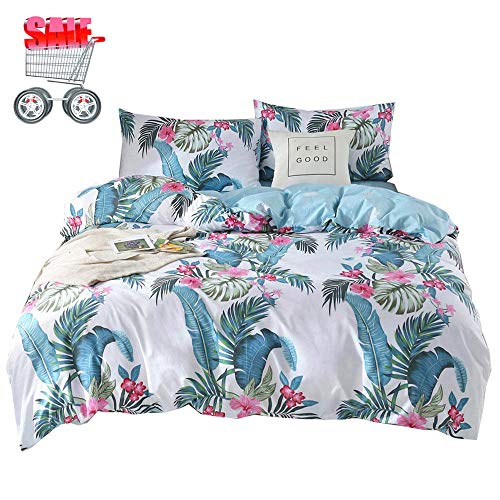 XiXiLi Cotton Bedding Sets Twin Children Garden Leaves Printed Duvet Cover Sets Reversible Boy Girl Women White Green Bedding Collections with Zipper Closure & Corner Ties Bed Sets,No Comforter