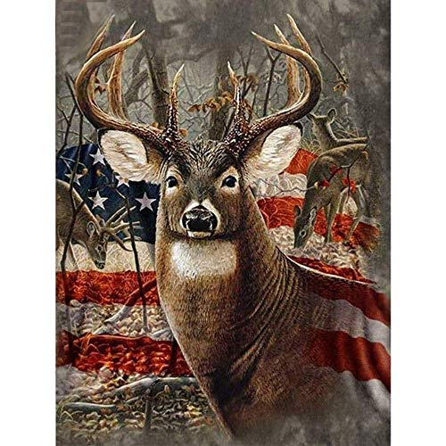YOMIA DIY Diamond Painting American Flag Needlework Deer Cross Stitch Patterns Paint by Number Kits, 5D Crystal Rhinestone Diamond Embroidery Paintings Pictures