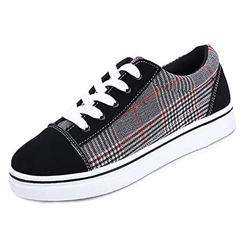 Heel Comfort Black de Sneakers Caucho Rojo Primavera Toe Flat Red Otoño Blanco Zapatos Mujer Negro Negro Round ZHZNVX zaxYUq