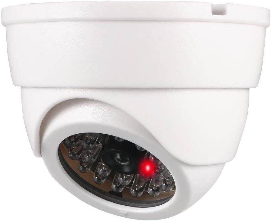 Dummy Fake Security Dome Camera Simulated Surveillance Cameras for Home & Business Security Outdoor/Indoor use with Flashing Red LED Light & Security Alert Sticker, Battery Powered, White