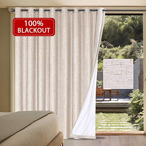 Drapery Panels Tan Velvet - H.VERSAILTEX Wide Thermal 100% Blackout Patio Curtain Panel Waterproof Sliding Door Curtains with Anti Rust Grommet Top, Decorative Room Divider, 100W by 84L Inches/ 8.3'W x 7'L - Natural