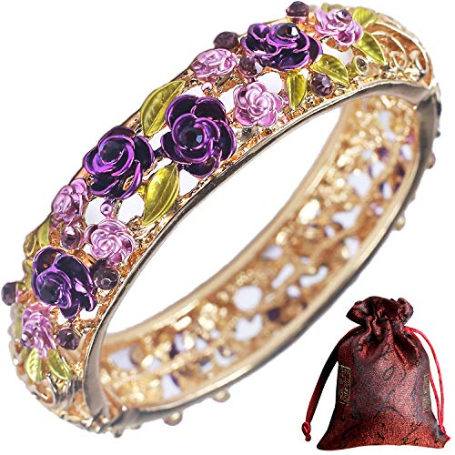 Pavaruni Traditional Gorgeous Chinese Cloisonne Bracelets, Rose Flower Retro Vintage Cultural Designed Enameled Jewelry, Cloisonné (Fresh Purple(Bracelet)) ()