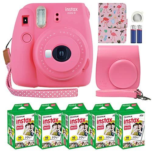 - Fujifilm Instax Mini 9 Instant Camera Flamingo Pink with Custom Case + Fuji Instax Film Value Pack (50 Sheets) Flamingo Designer Photo Album for Fuji instax Mini 9 Photos.