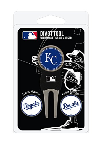 Team Golf MLB Kansas City Royals Divot Tool with 3 Golf Ball Markers Pack, Markers are Removable Magnetic Double-Sided Enamel