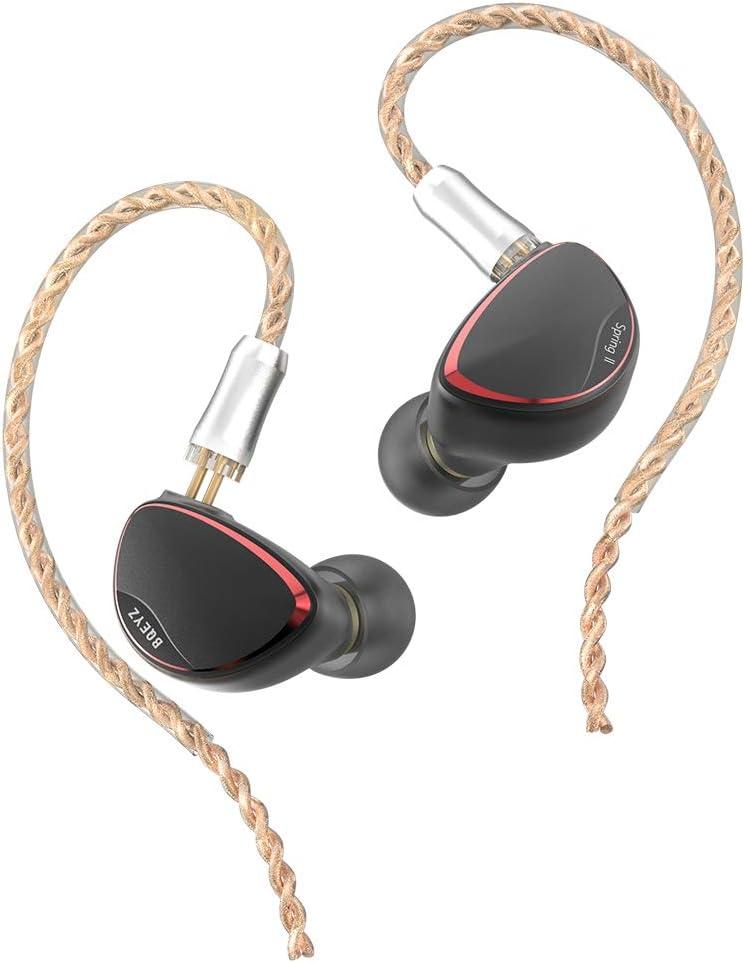 BQEYZ Spring2 - Monitor intrauditivo HiFi, equipado con IEM, controlador avanzado híbrido triple BA dinámico con cable desmontable para aislamiento de ruido, audiófilos músicos (negro)