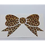 "Leopard Print Bow Decal bumper sticker 5""- Use Outdoor as an Automotive Grade Powersport Graphic kit Or Indoor as a Decorative Laptop or touch screen tablet skin"