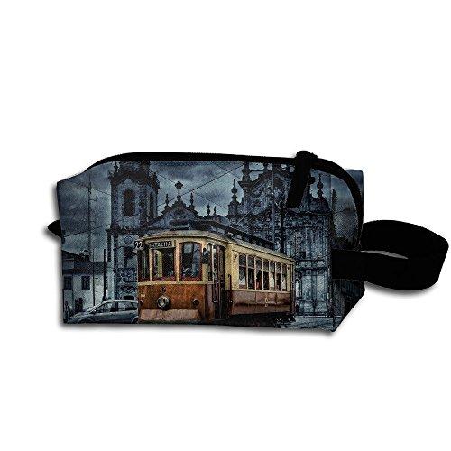 Makeup Cosmetic Bag City Tram Dusk Medicine Bag Zip Travel Portable Storage Pouch For Mens Womens ()