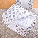 Leoie Portable High Capacity Non-Woven Quilt Storage Bag Folding Closet Organizer Durable for Quilt Blanket