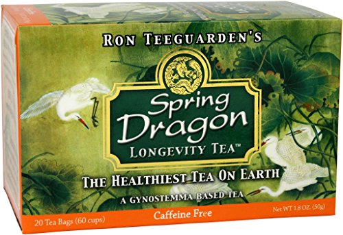 Dragon Herbs Spring Dragon Longevity Tea – 20 Tea Bags – 60 Cups – Made with Premium Gynostemma – All Natural, Vegan, Non-GMO, Caffine Free, Premium Grade, Jiao Gu LAN