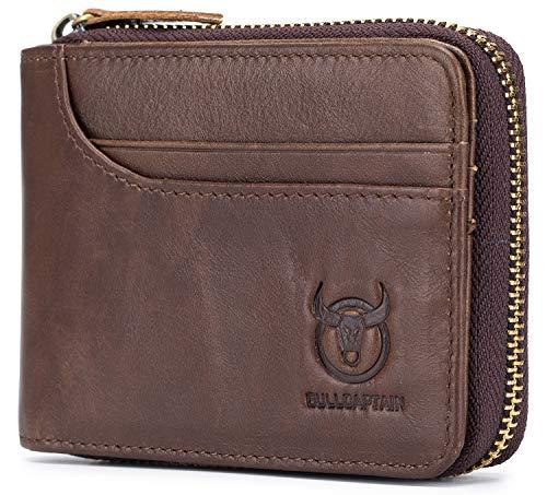 Mens Genuine Leather Wallet RFID Blocking Secure Zipper Bifold Card Holder Purse (Brown) ()