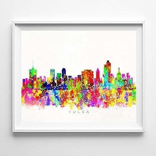 Home Decor Tulsa: Amazon.com: Tulsa Oklahoma Watercolor Skyline Poster