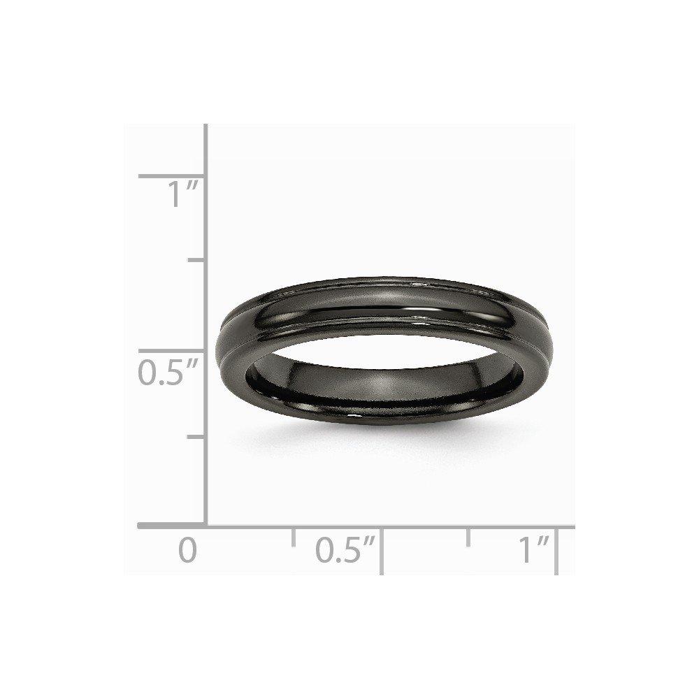 Brilliant Bijou Titanium Black Ti Domed 4mm Polished Rounded Edge Band