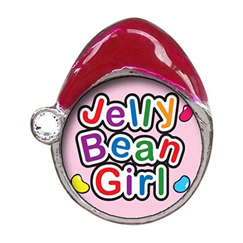 (GiftJewelryShop Cartoon Theme White Crystal April Birthstone Santa Hat Charms, Jelly Bean Girl Easter)
