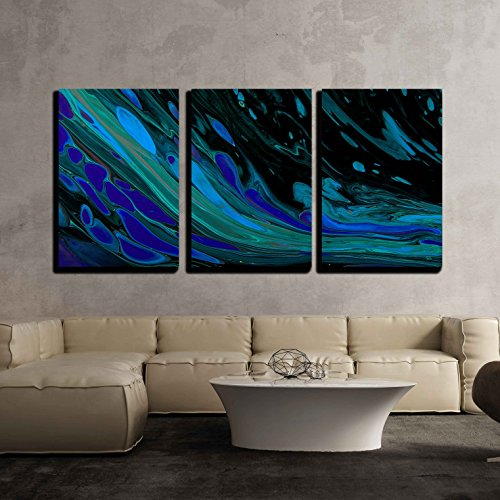 Closeup View of an Original Painting Hand Painted Abstract Dark Cosmic Grunge Background x3 Panels