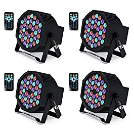 Missyee UP Lights, 36 X 1W RGB LED DJ Lights Sound Activated Stage Lights Package with Remote Compatible with DMX-512…