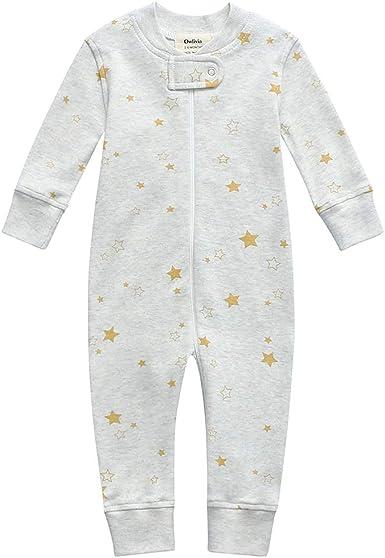 Owlivia Pijama de algodón orgánico para bebé con cremallera para dormir y jugar, sin pies, de manga larga para bebé (tamaño recién nacido-24 meses)