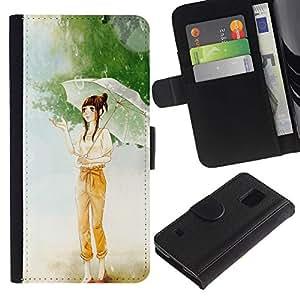 EJOY---Tirón de la caja Cartera de cuero con ranuras para tarjetas / Samsung Galaxy S5 V SM-G900 / --Chica con paraguas de la historieta