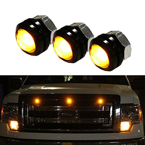 iJDMTOY 3pc SVT Raptor Style Amber High Power LED Grille Lighting Kit, Universal Fit For Any Truck SUV